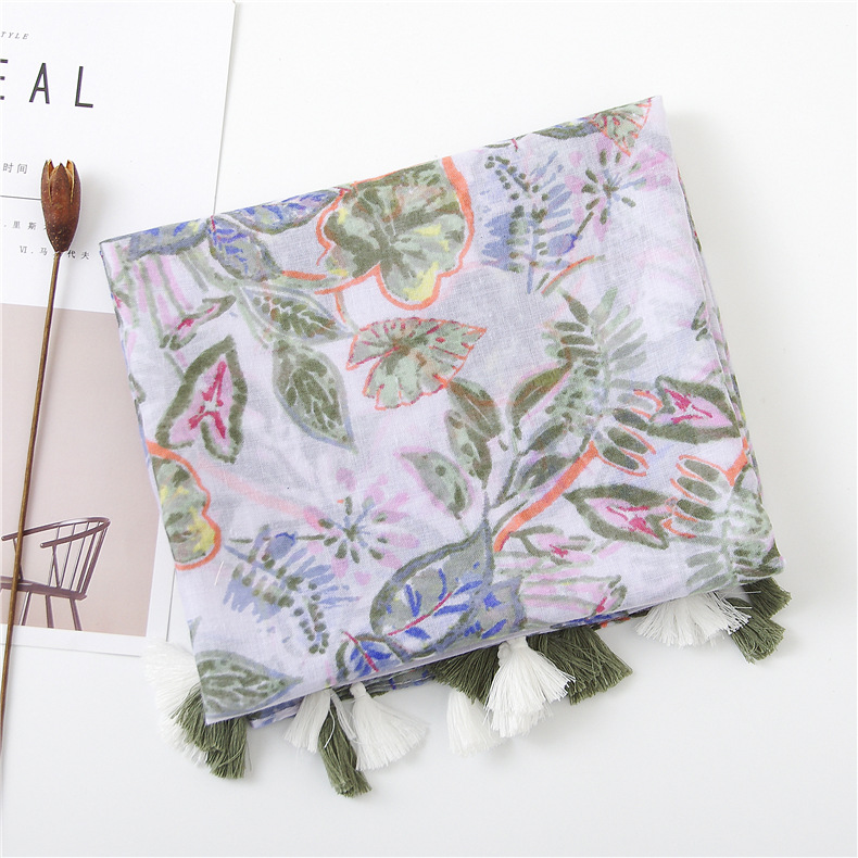 New cotton and linen scarf green leaves tassel scarf sunscreen big shawl NHGD180139