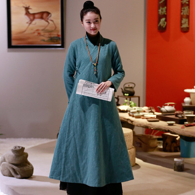 Chinese style new winter thickening Cotton and linen robe Zen tea dress Chinese retro Zen dress tea dress women