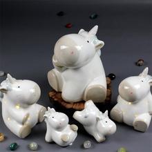 外贸陶瓷工艺品北欧摆件白瓷独角兽迷你可爱存钱罐储蓄罐小夜灯