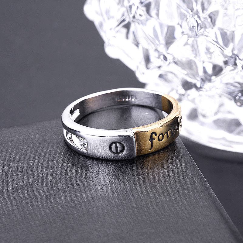 Titanium&Stainless Steel Korea Geometric Ring  (Alloy + Alloy-7) NHLJ3815-Alloy + Alloy-7