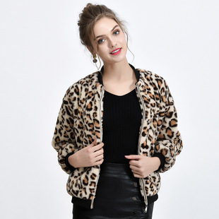 Cross-border leopard print faux fur jacket women 2021 winter new European and American fashion ladies all-match faux fur jacket