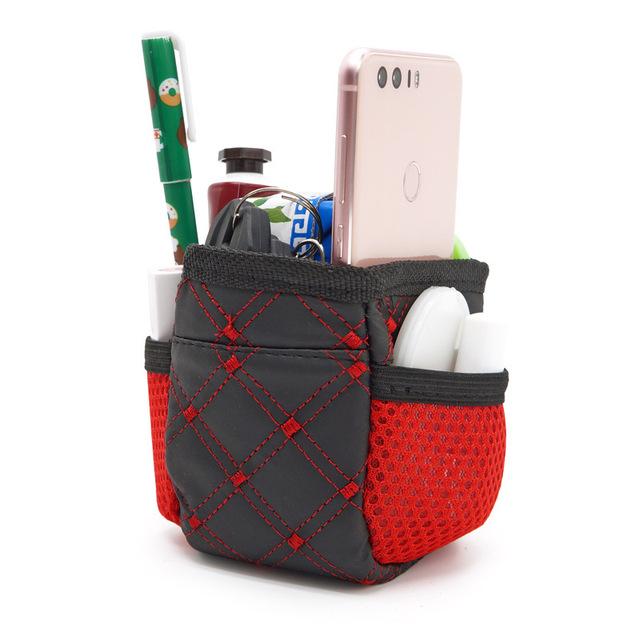 新款红酒出风口带网兜置物袋 车载空调出风口挂式收纳袋 汽车用品