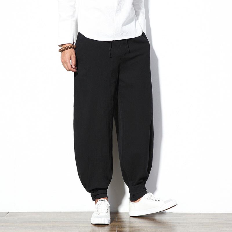 诚招代理中国风男装新款束脚棉麻长裤男 复古男?#38752;?#26494;大码亚麻裤