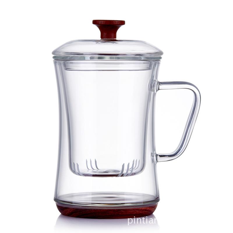 耐热玻璃泡茶杯三件式过滤内胆绿茶杯花茶杯办公家用木底防烫水杯
