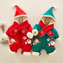 婴童装圣诞秋冬新款纯棉宝宝连体衣一件代发加厚新生婴幼儿爬服饰