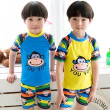 兒童泳褲泳衣男童分體小中大童可愛溫泉時尚柔軟泳褲套裝小孩泳裝