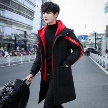 2018冬季新款男士棉衣韩版修身中长款休闲男生加厚保暖连帽棉衣潮