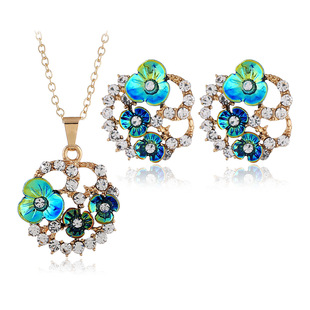 European and American high-end color rose flower necklace earrings jewelry set new Bosnian style jewelry two-piece set