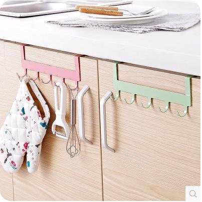 厨房橱柜门背式5连钩 免钉无痕多功能门后挂钩 浴室铁艺挂钩排钩
