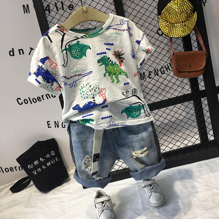温州童装2018夏季新品男宝宝韩版个性印花T恤衫C13092短裤C12119