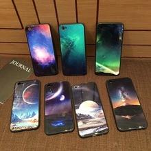 星空钢化玻璃壳iPhoneX手机套vivox20plus软边壳oppoR11孔雀壳