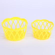厂家直销宏旭黄色小号鸡蛋篓塑料编织鸡蛋包装筐镂空水果零食筐