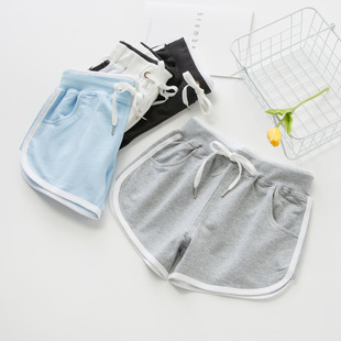 Pure cotton thin pockets student running yoga home pants sweatpants pajamas plus fat fat girls shorts