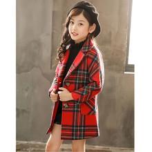 冬季新款童裝格子夾棉加厚外套女童呢子保暖上衣單排扣翻領外穿服