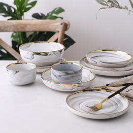 Nordic marble bowl Phnom Penh Western dish ceramic rice bowl creative steak dish pasta dish cutlery set soup plate