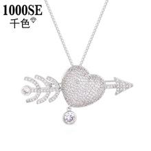 原創設計韓國創意個性微鑲鋯石毛衣鏈胸針兩用丘比特之愛時尚飾品