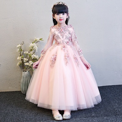Children dress princess dress girl long sleeve piano performance dress birthday evening dress flower wedding dress