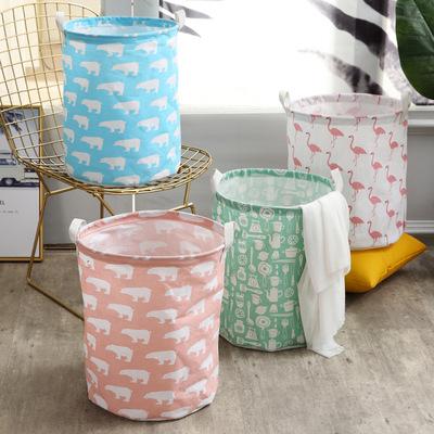 货源北欧风格卡通收纳盒脏衣篮储物桶棉麻粉色系列收纳筐收纳桶批发