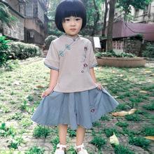 女童漢服夏復古半身裙兒童改良短袖棉民族風古裝中式寶寶唐裝
