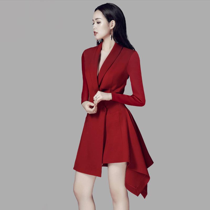 广州厂家高端女装 春新款翻领修身酒红色长袖中长款礼服裙小西装