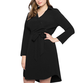 Shi Ying large size dress autumn and winter fat mm new European version V-neck long sleeve with waist bandwidth loose skirt 220491