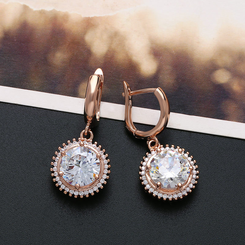 Zircon Simple Flowers earring  (Rose alloy)  Fashion Jewelry NHAS0509-Rose-alloy