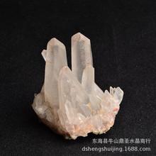 天然白水晶簇晶花天然原石小把件消磁净化防辐射水晶原石摆件
