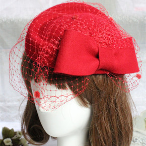 British retro Beret women's pure wool little hat Hongniang headdress