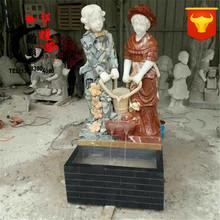 厂家直销石雕西方人物雕塑汉白玉墨玉像喷水喷泉户外室内流水摆件