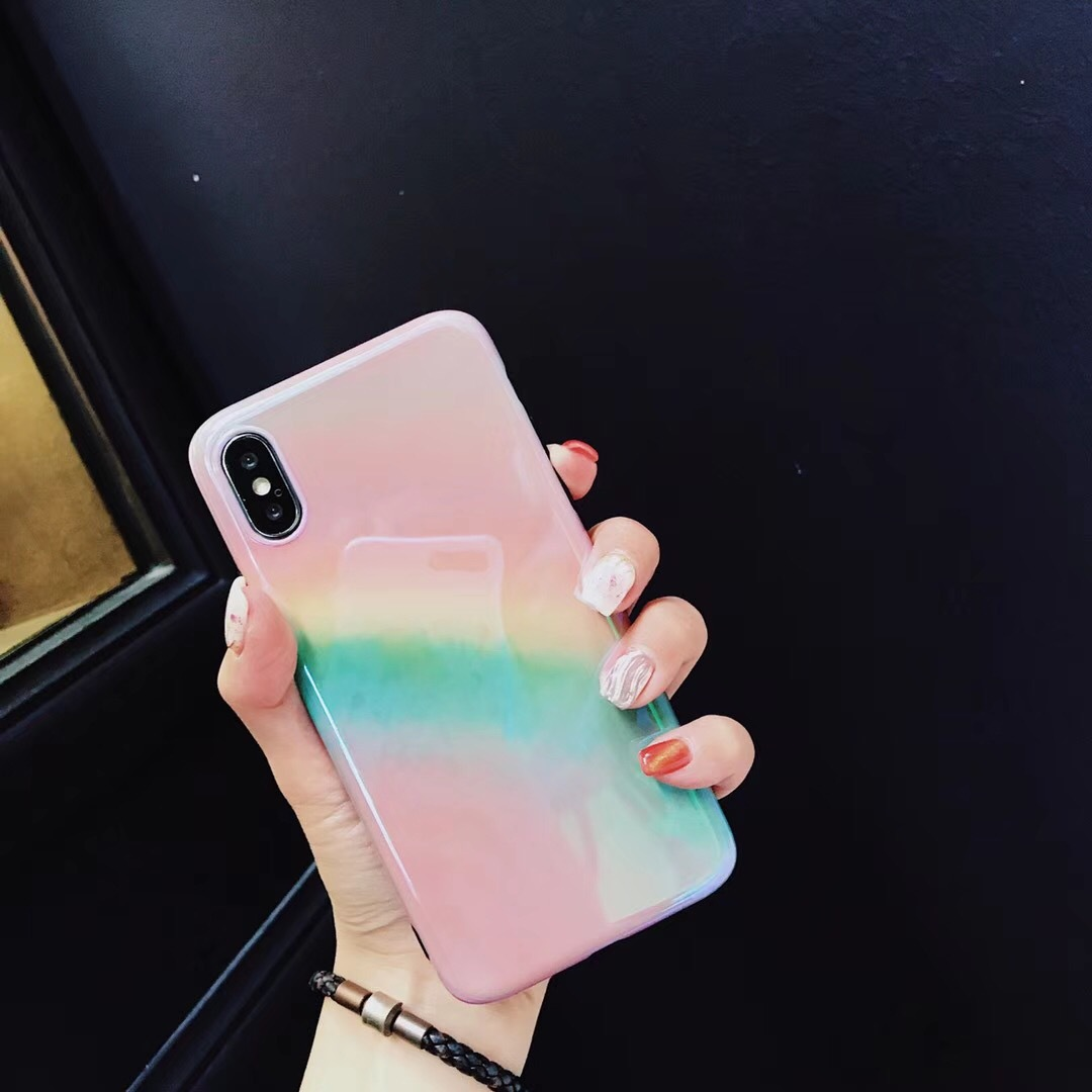 Summer Rainbow Girl Pink iphone X Mobile Shell Apple 6 7 8 plus Soft tpu Cover imd