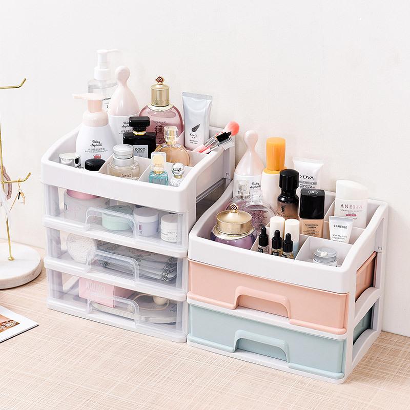 大号化妆品收纳盒透明抽屉式桌面收纳架梳妆台化妆盒护肤品置物架