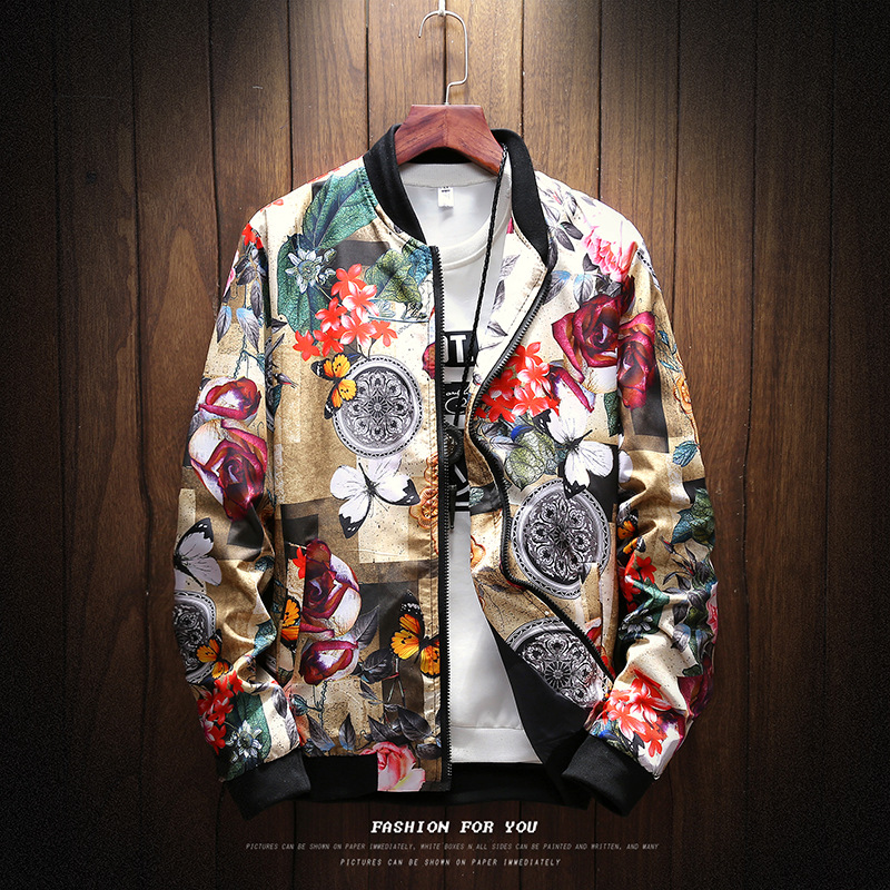Taobao men's new fashion men's flower jacket in autumn and winter