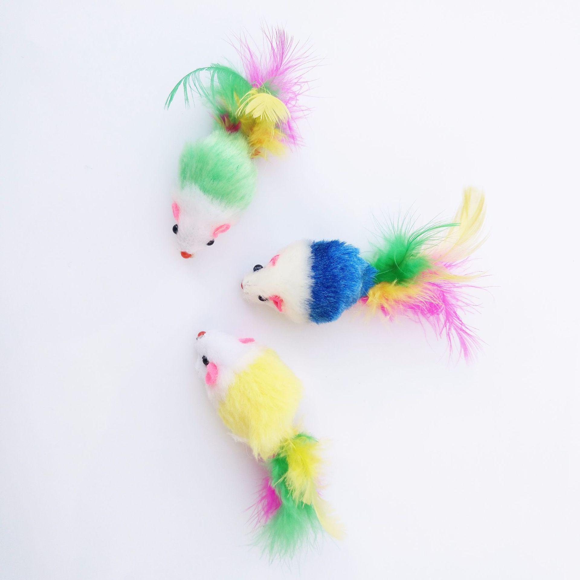 热销宠物用品猫玩具毛绒小老鼠彩色羽毛厂家直销逗猫玩具羽毛老鼠