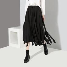 欧美2018半身裙秋冬新款女装时尚飘带高腰中长款半身裙3833
