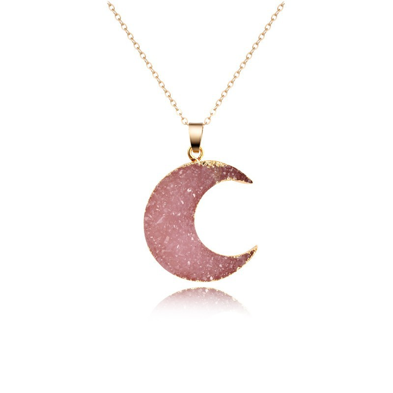 Womens Moon Sexual simplicity imitation of natural stone moon Necklaces GO190430120020