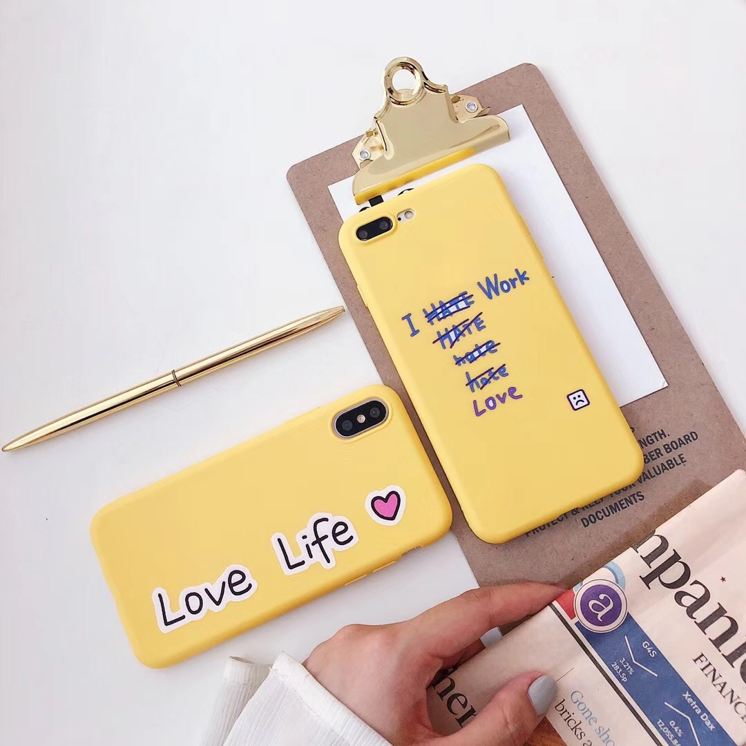 Simple and creative, I love life, work perfect mobile phone case, iPhoneX/8/7plus apple 6sp protective case