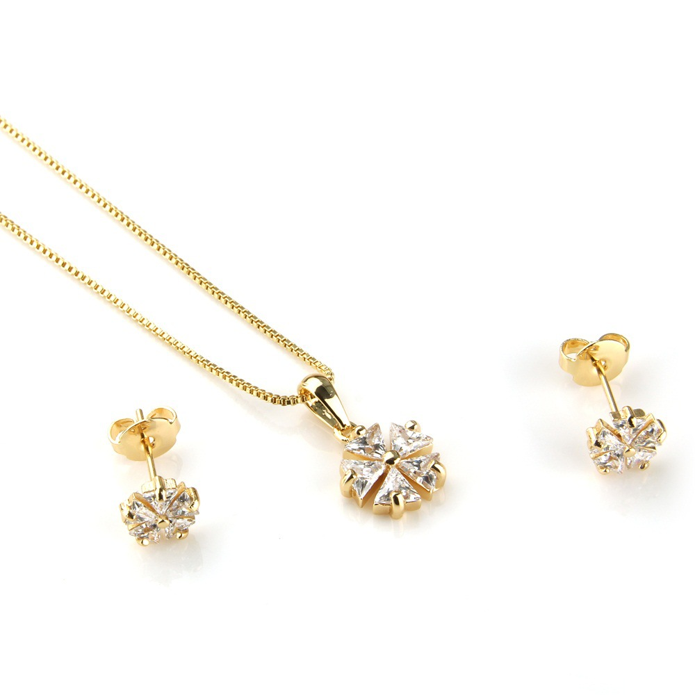 Copper Simple  necklace  (Alloy-plated white zircon) NHBP0193-Alloy-plated-white-zircon