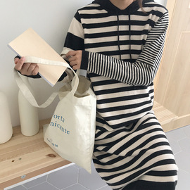 New maternity striped maternity dress in autumn and winter loose large size long sweater bottom dress