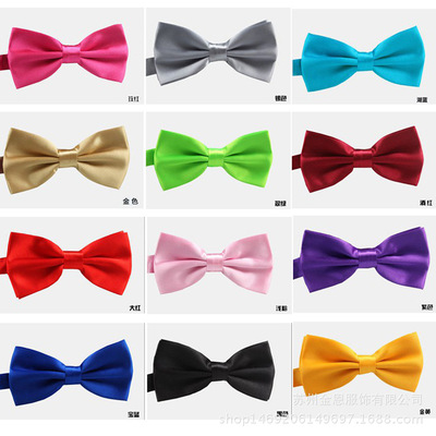 men's jazz dance suit blazers Men business satin bow tie double layer pure satin bow tie