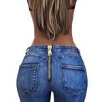 跨境ebay亚马逊wish速卖通新款 外贸紧身包臀拉链性感长裤牛仔裤