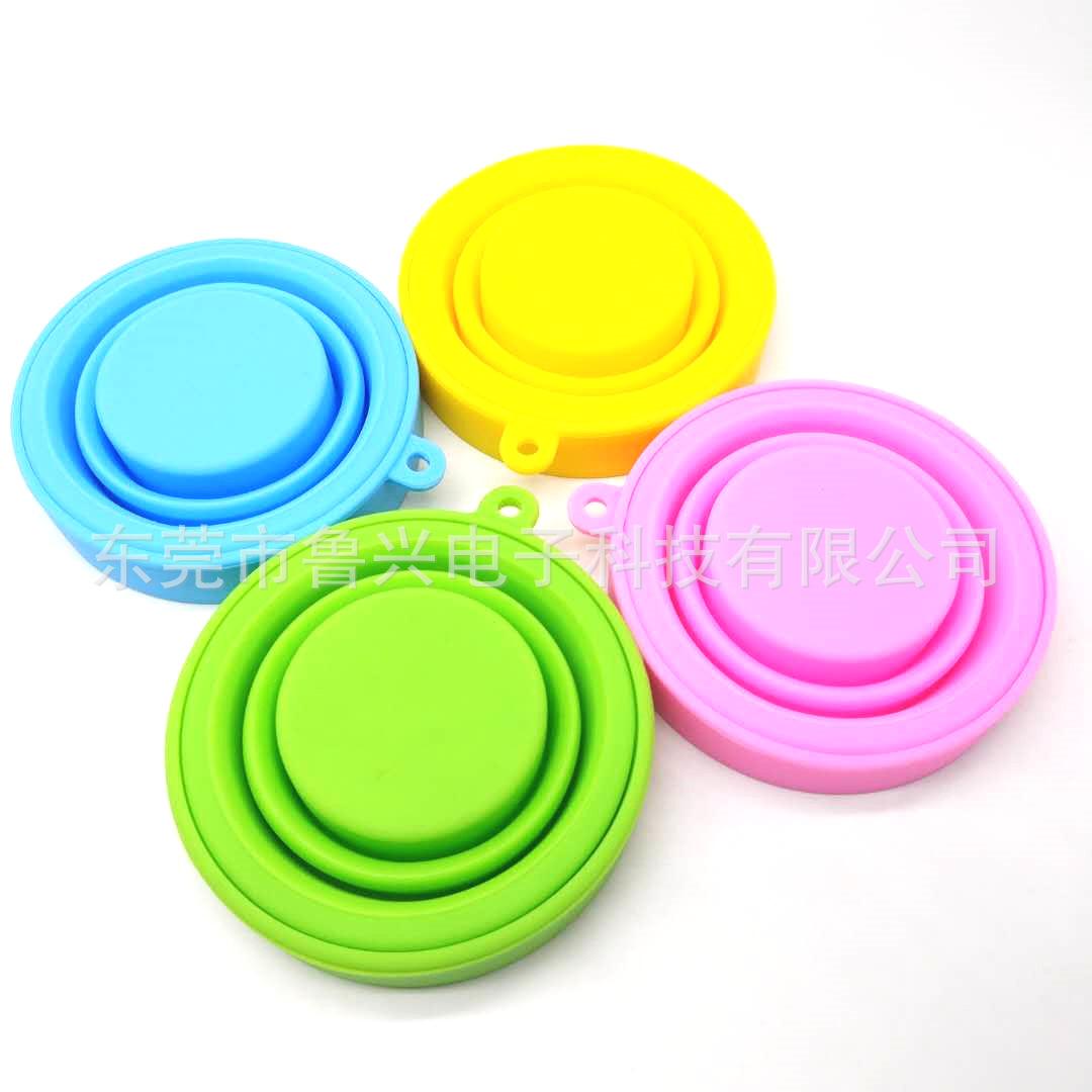 硅胶折叠杯 亚马逊热卖 户外硅胶折叠杯食品级有色防摔可拉伸4色 阿里巴巴