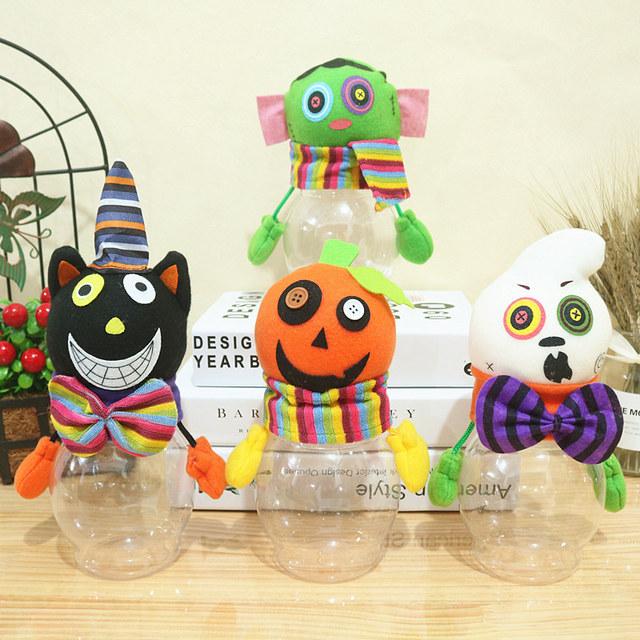 万圣节装饰品南瓜桶透明糖果罐黑猫南瓜儿童礼物罐万圣节道具摆件