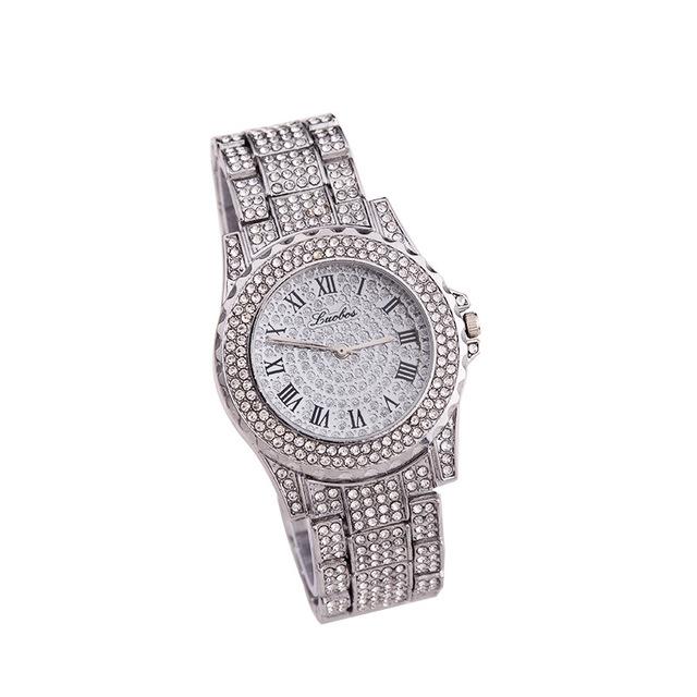 金色三色石英表 时尚休闲套装钢带手表满天星手表女士手表罗马刻