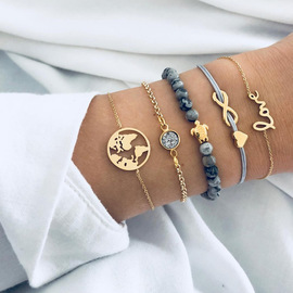 Fashion Personality Turtle World Map Love Letters Infinite 8 Words Love Beads Bracelet Set Female New B0034