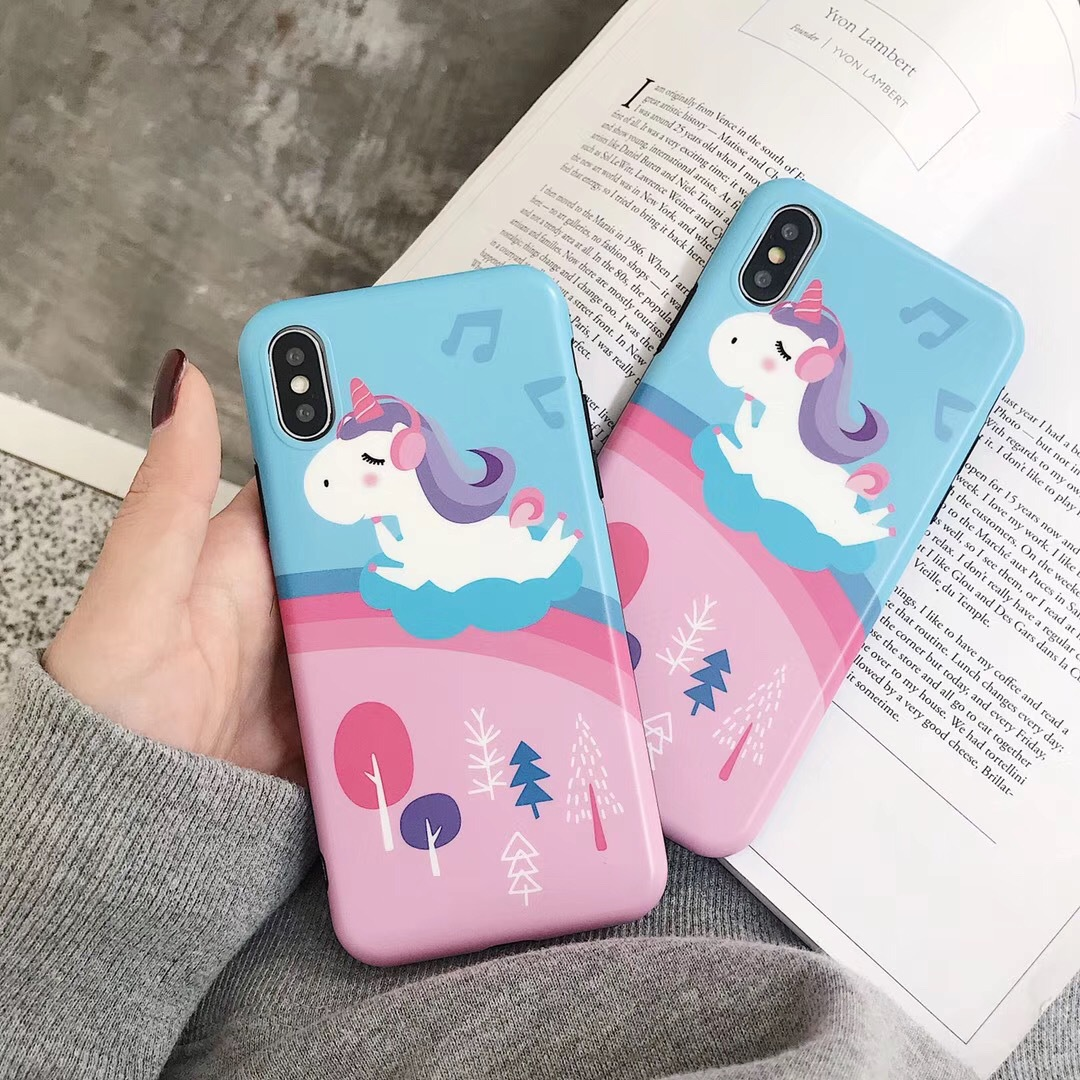 New pink unicorn for iPhoneXMAS mobile phone shell Apple XR all-inclusive soft shell 8/7plus cartoon