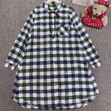 新款文艺小清新娃娃领系带格子长款衬衫纯棉磨毛格子长袖女士衬衫