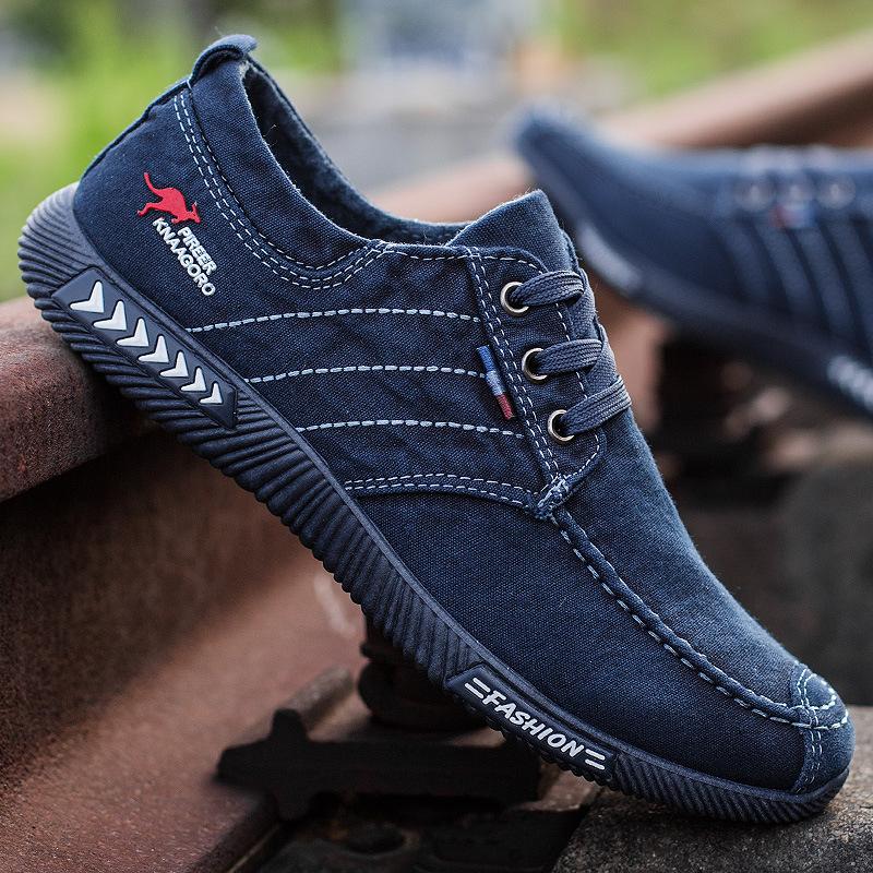 老北京布鞋防滑男学生系带休闲条纹男士牛仔帆布鞋透气男鞋潮板鞋
