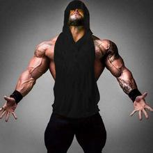 跨境爆款肌肉男健身坎肩深挖纯色背心运动健美无袖连帽套头背心