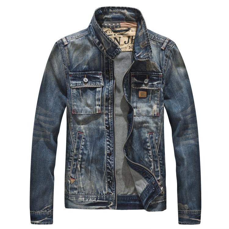 外贸男士拉链复古做旧长袖外套朋克机车牛仔夹克牛仔衣H0614P198