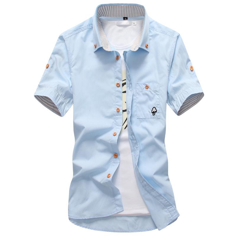 夏季新款 男士短袖修身韩版绣花小蘑菇短袖短袖立领男衬衫